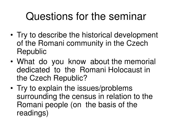 Questions for the seminar