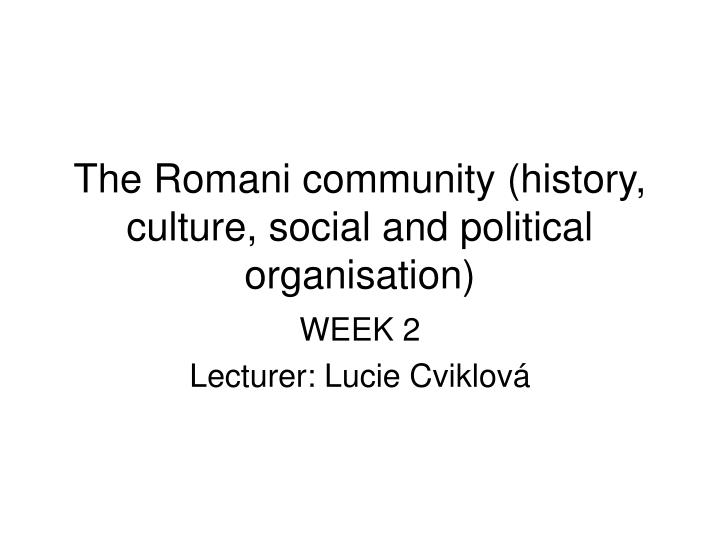 The romani community history culture social and political organisation