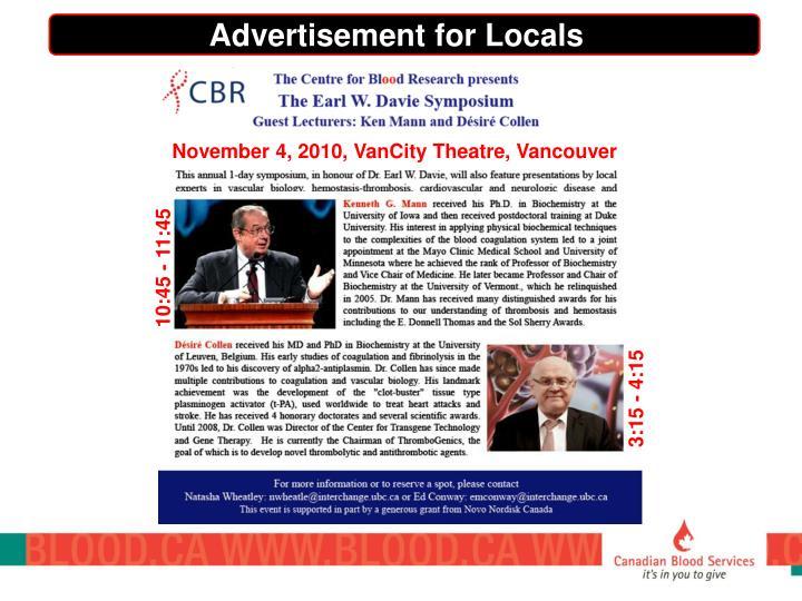 Advertisement for Locals