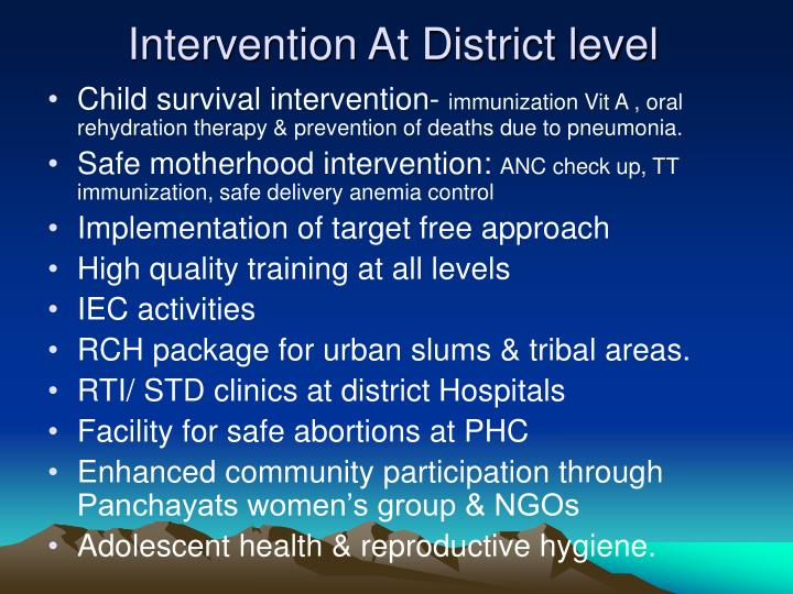 Intervention At District level