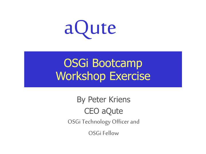 osgi bootcamp workshop exercise n.