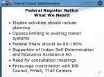 federal register notice what we heard