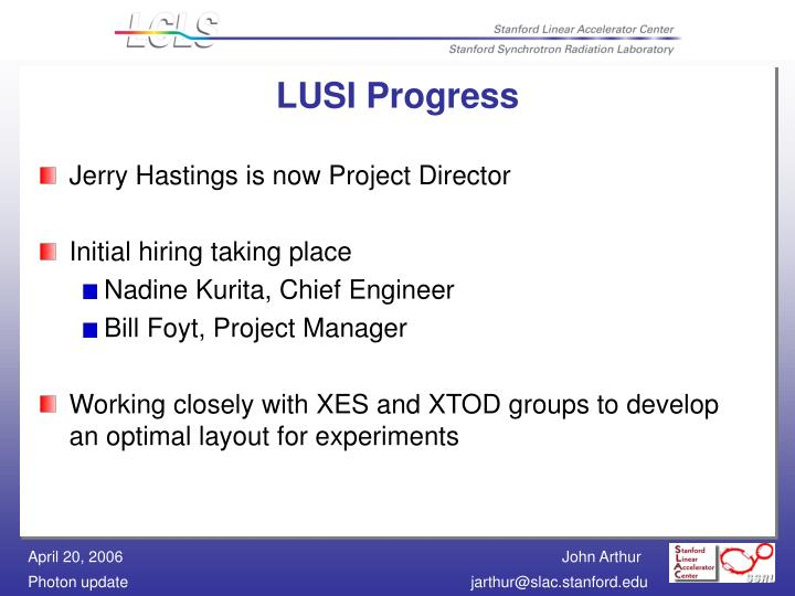 LUSI Progress