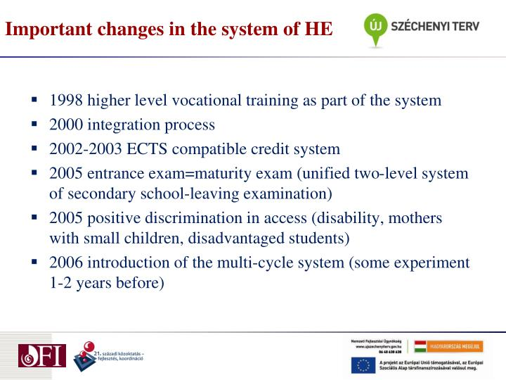 Important changes in the system of he