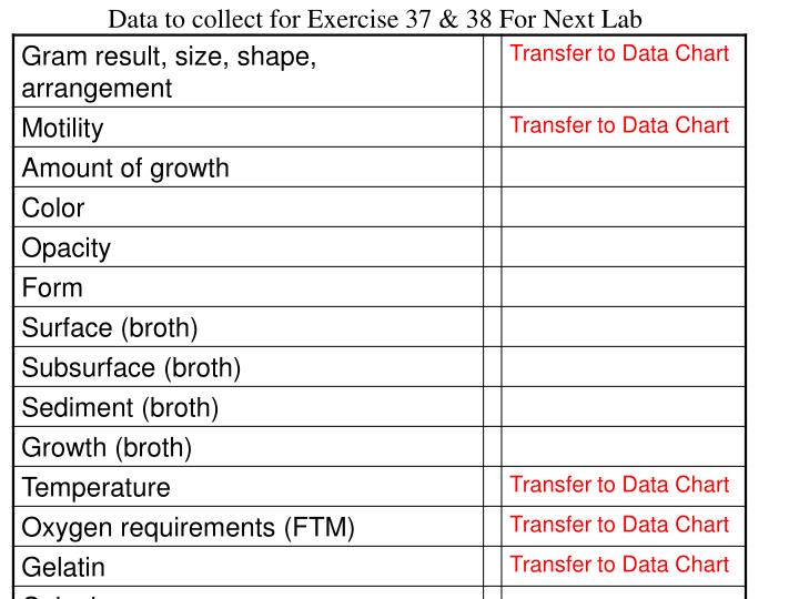 Data to collect for Exercise 37 & 38 For Next Lab