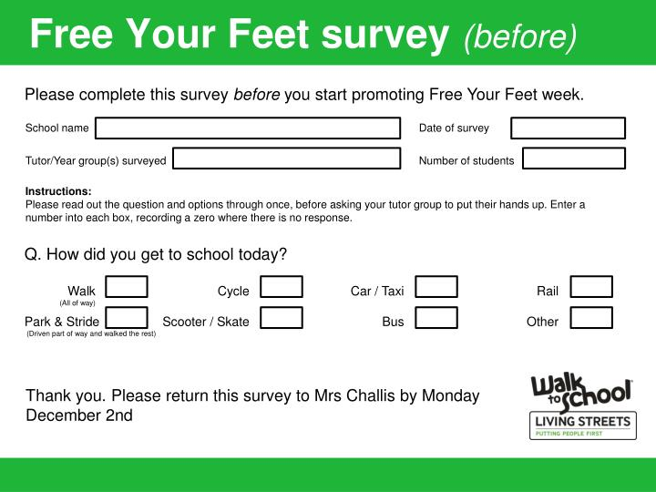 free your feet survey before n.