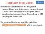 final exam prep 1 point