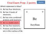 final exam prep 2 points