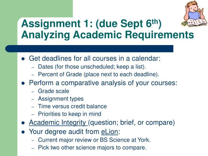 Assignment 1: (due Sept 6
