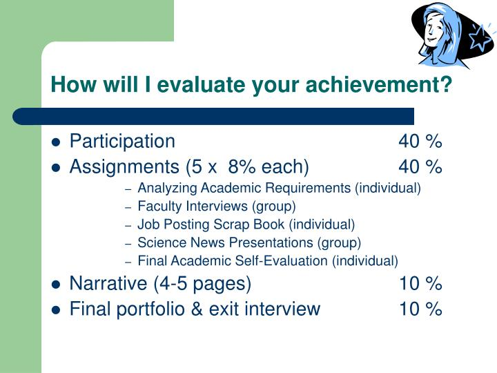 How will I evaluate your achievement?