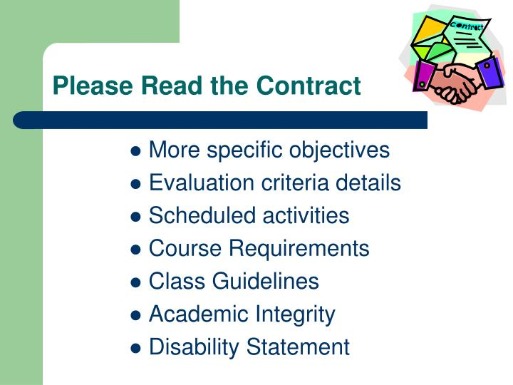 Please Read the Contract