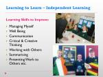 learning to learn independent learning