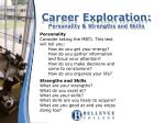 career exploration personality strengths and skills