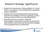 research strategy significance