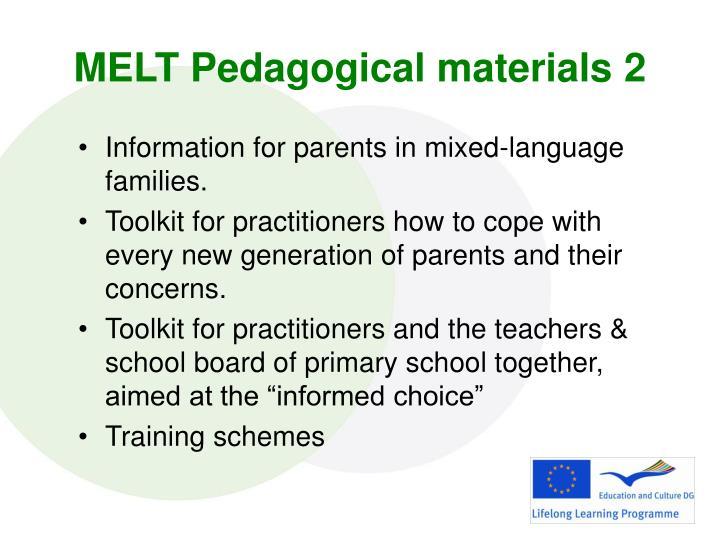 MELT Pedagogical materials 2