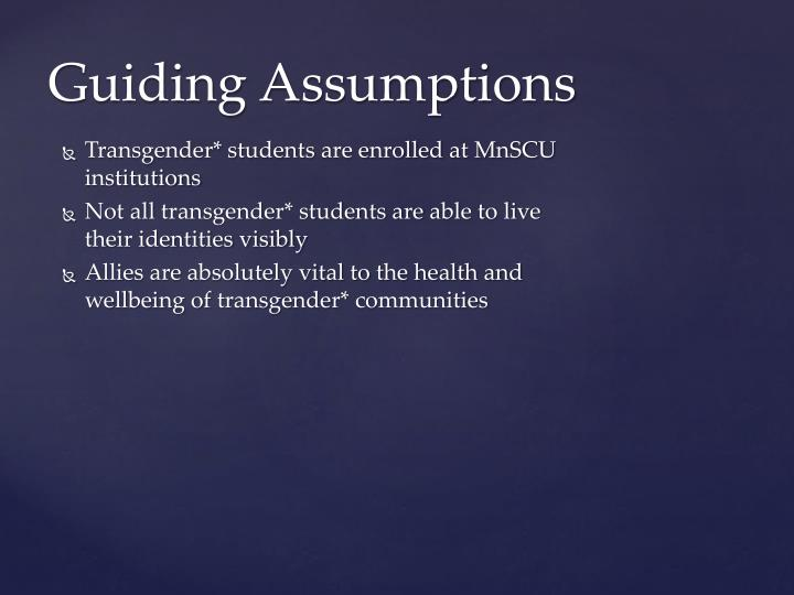 Guiding assumptions