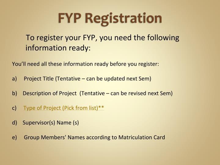 FYP Registration