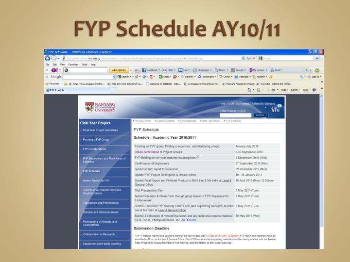 Fyp schedule ay10 11
