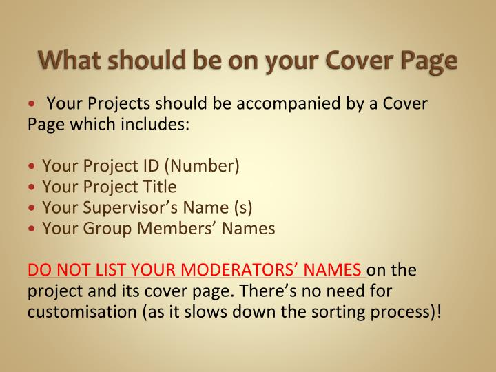 What should be on your Cover Page