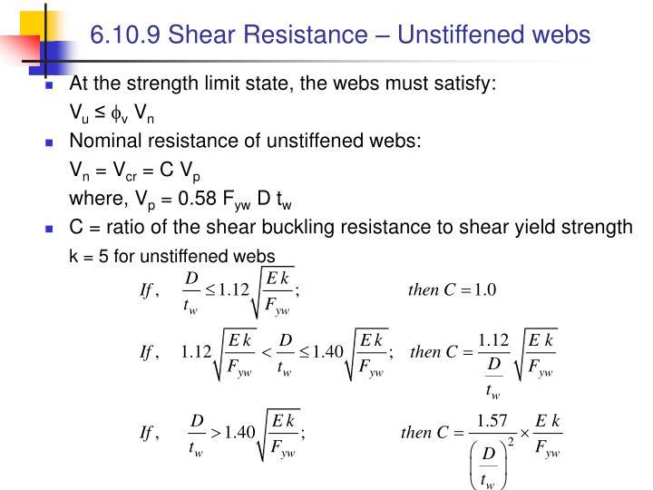 6.10.9 Shear Resistance – Unstiffened webs