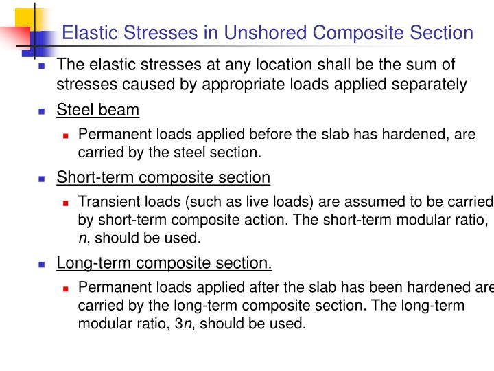 Elastic stresses in unshored composite section