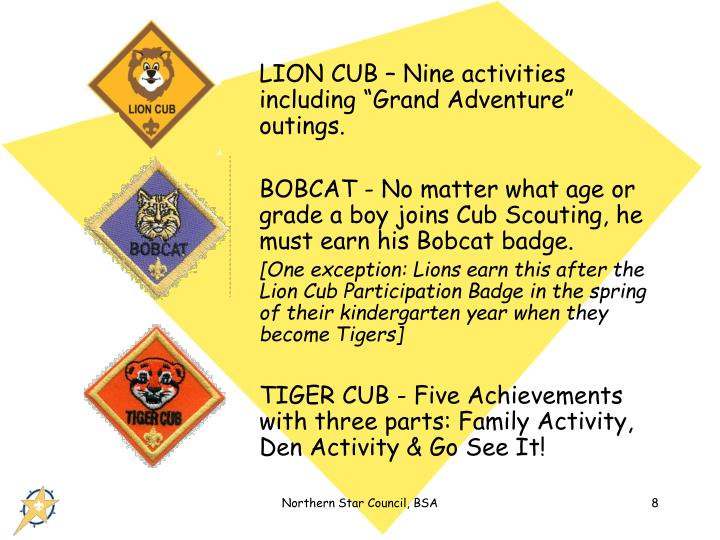 """LION CUB – Nine activities including """"Grand Adventure"""" outings."""