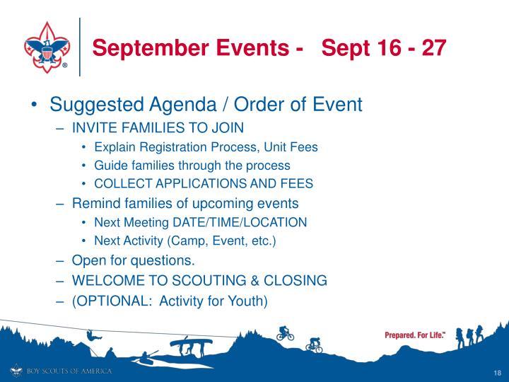September Events-Sept 16 - 27