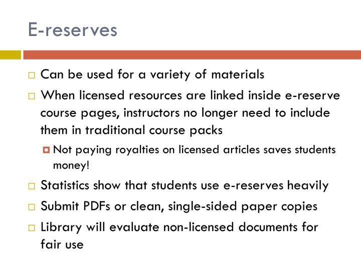 E-reserves