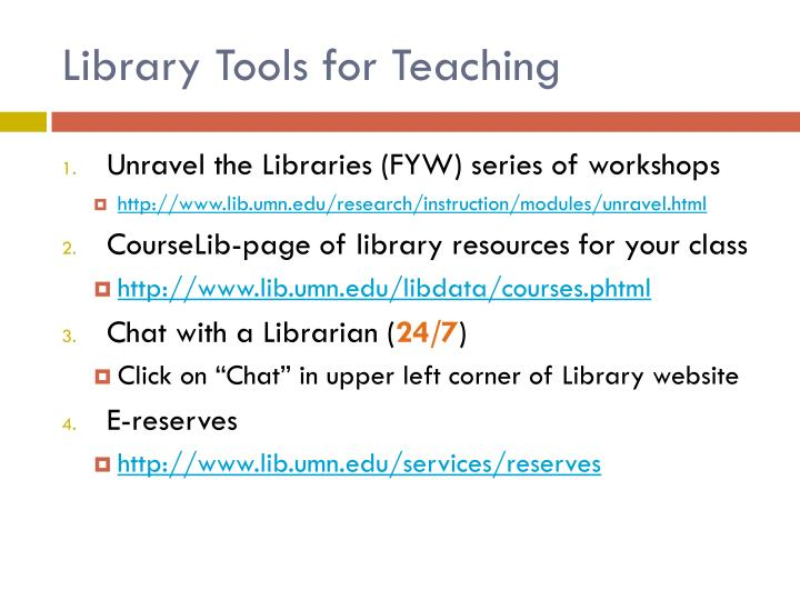 Library Tools for Teaching