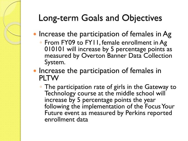 Long-term Goals and Objectives