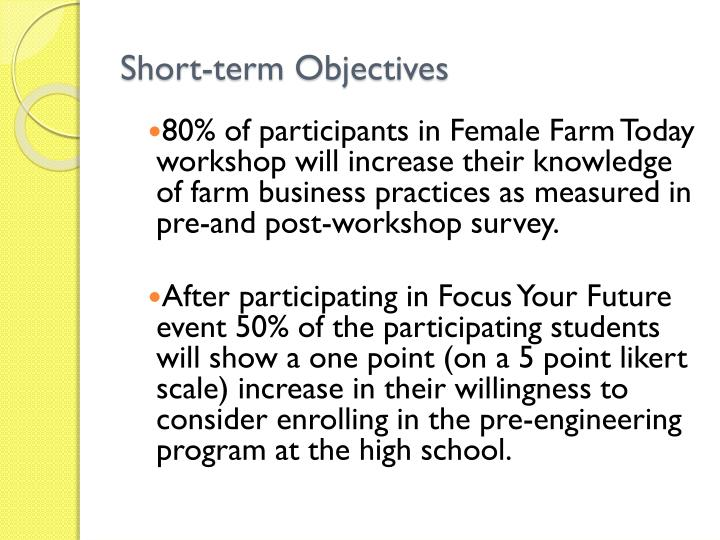 Short-term Objectives