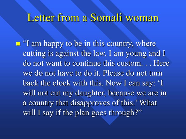 Letter from a Somali woman