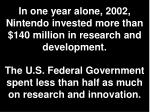 in one year alone 2002 nintendo invested more than 140 million in research and development
