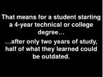 that means for a student starting a 4 year technical or college degree