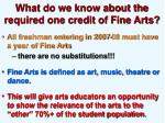 what do we know about the required one credit of fine arts