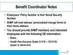 benefit coordinator notes