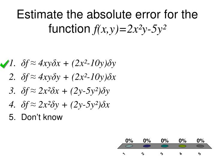 Estimate the absolute error for the function
