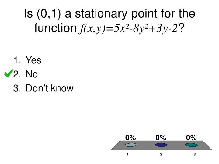 Is (0,1) a stationary point for the function