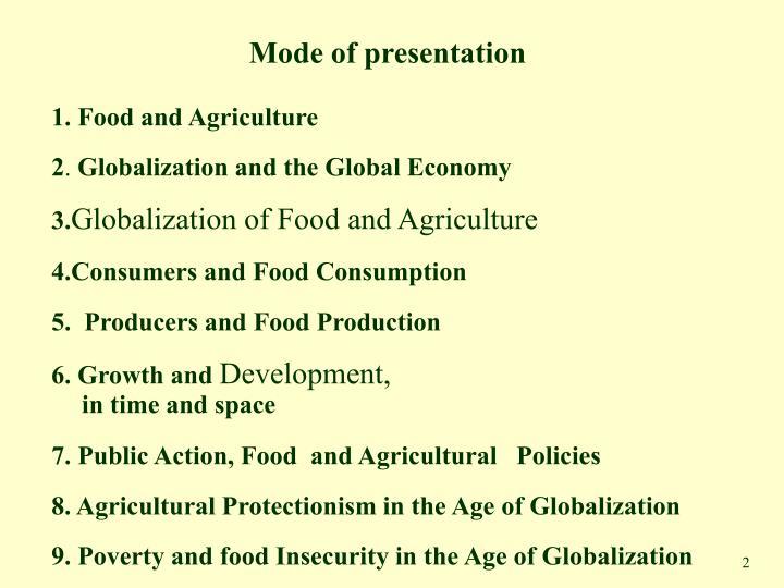Mode of presentation
