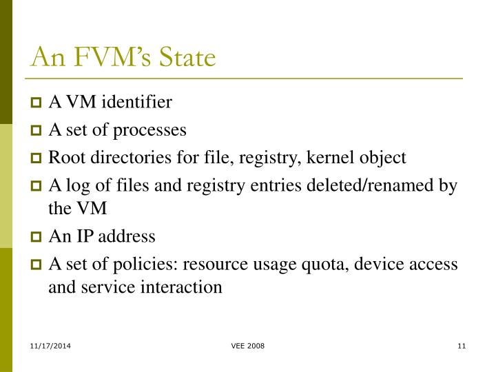 An FVM's State