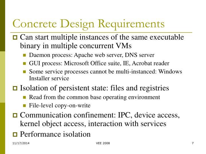 Concrete Design Requirements