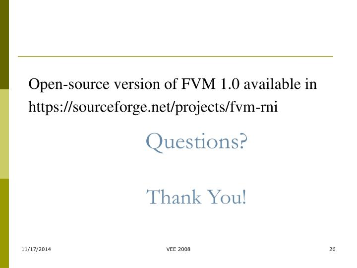 Open-source version of FVM 1.0 available in