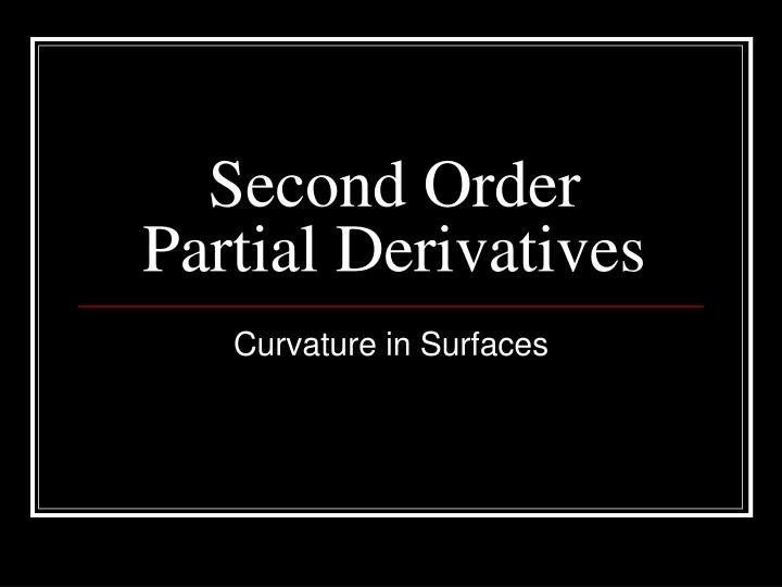 second order partial derivatives n.