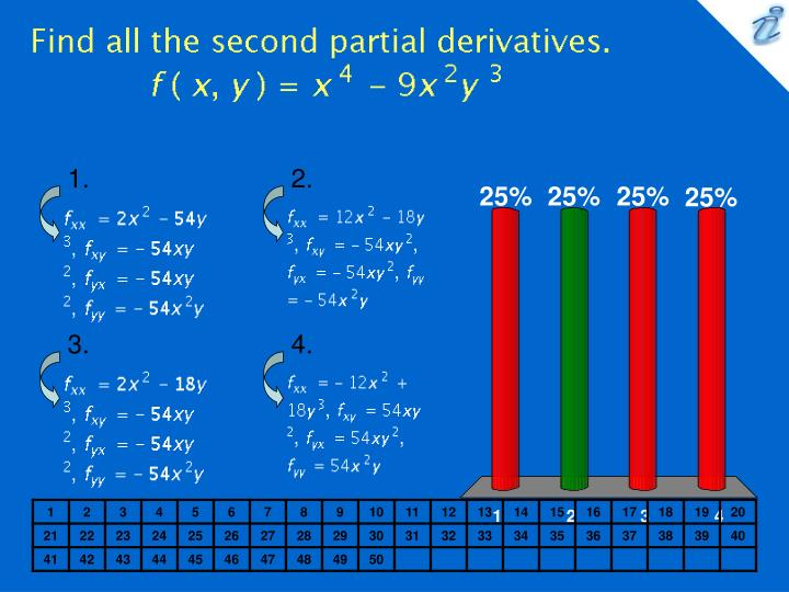 Find all the second partial derivatives f x y x 4 9x 2y 3