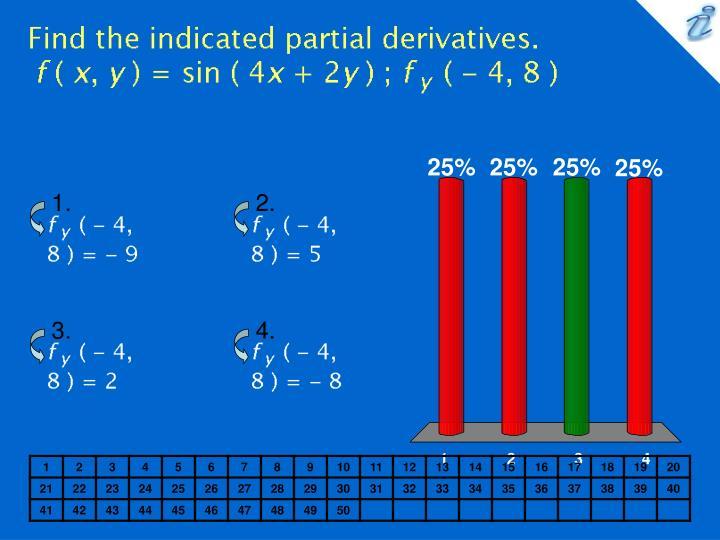Find the indicated partial derivatives f x y sin 4x 2y f y 4 8