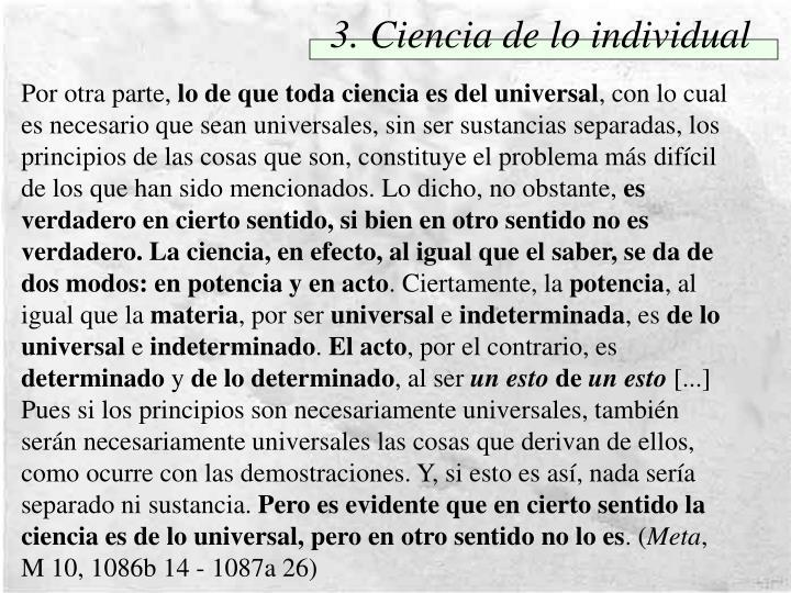 3. Ciencia de lo individual