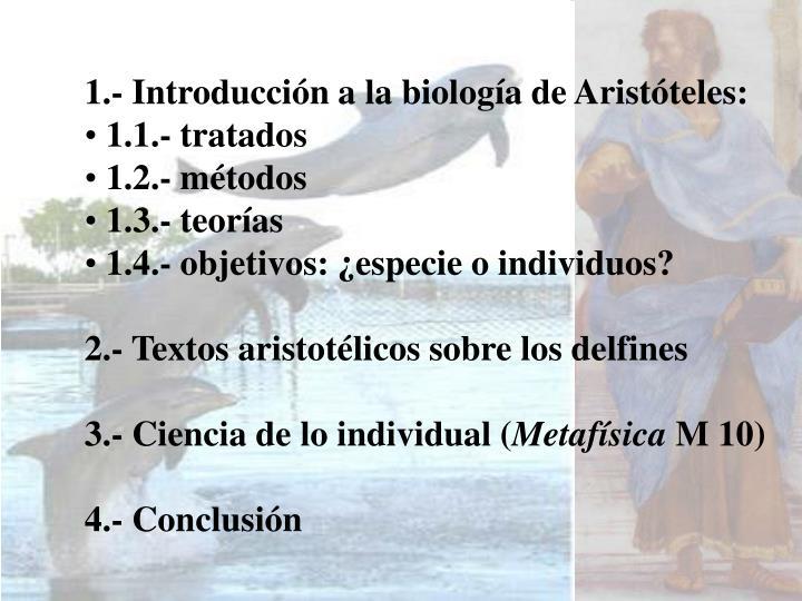 1.- Introducción a la biología de Aristóteles: