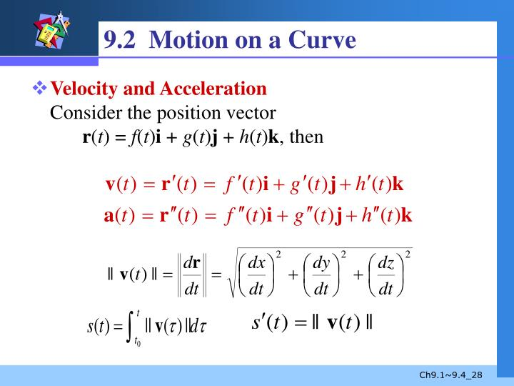 9.2  Motion on a Curve