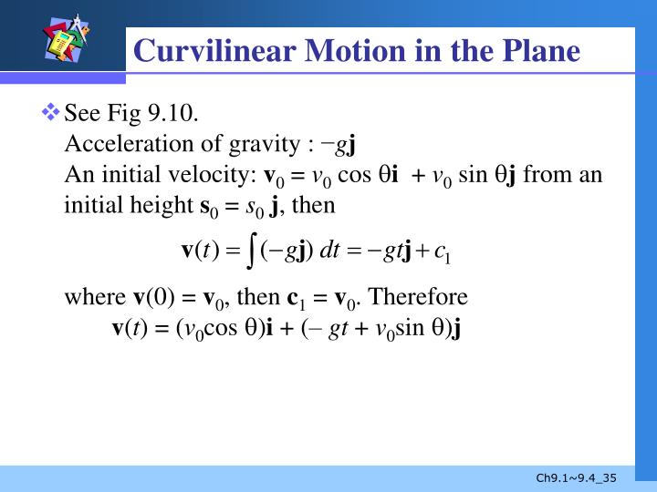 Curvilinear Motion in the Plane