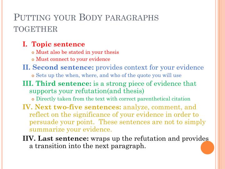 Putting your Body paragraphs together